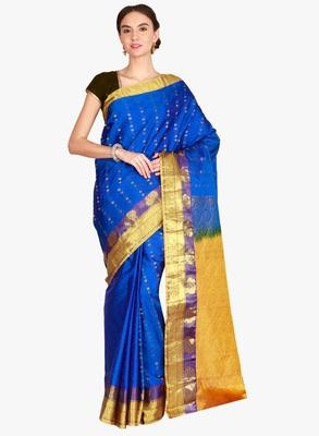 CLASSICATE from the house of The Chennai Silks  Women's Blue Kanjivaram Silk Saree With Blouse