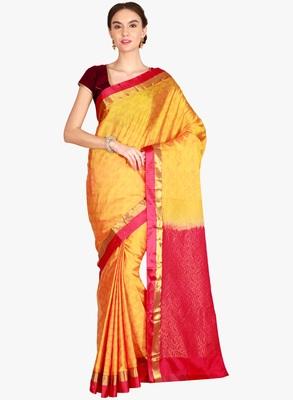 CLASSICATE from the house of The Chennai Silks  Women's Yellow Kanjivaram Silk Saree With Blouse