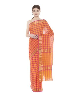 CLASSICATE from the house of The Chennai Silks  Women's Multicolor Chettinad Cotton Saree With Blouse