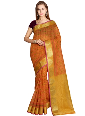 CLASSICATE from the house of The Chennai Silks  Women's Orange Chanderi Cotton Saree With Blouse