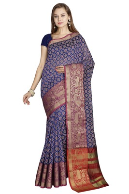 CLASSICATE from the house of The Chennai Silks  Women's Navy Blue Chanderi Cotton Saree With Blouse