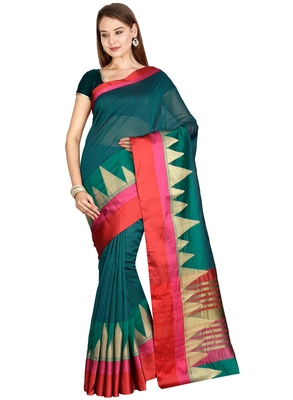 CLASSICATE from the house of The Chennai Silks  Women's Green Chanderi Cotton Saree With Blouse