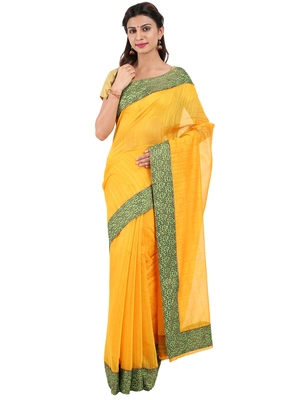 CLASSICATE from the house of The Chennai Silks  Women's Yellow Chanderi Cotton Saree With Blouse