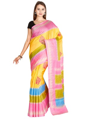 CLASSICATE from the house of The Chennai Silks  Women's Yellow Bhagalpuri Saree With Blouse