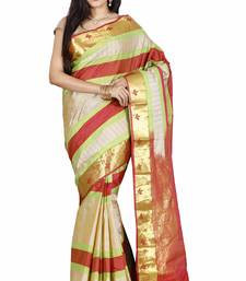 CLASSICATE from the house of The Chennai Silks  Women's Beige Dharmavaram Silk Saree With Blouse