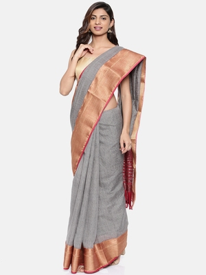 CLASSICATE from the house of The Chennai Silks  Women's Grey Dupion Saree With Blouse