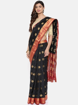 CLASSICATE from the house of The Chennai Silks  Women's Black Dupion Saree With Blouse