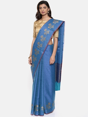CLASSICATE from the house of The Chennai Silks  Women's Blue Organza Saree With Blouse