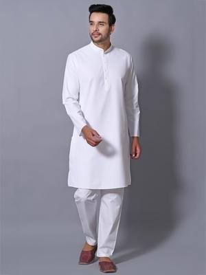 Men's White Cotton Blend Patterned Straight Kurta Payjama Set