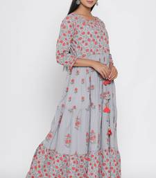 Women's Grey & Coral Cotton Cambric Floral Print Anarkali Dress