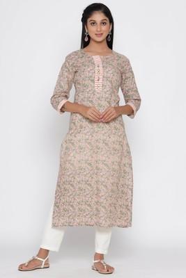 Women's Peach Cotton Cambric Block Print Straight Kurta