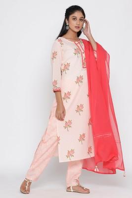 Women's Peach Cotton Cambric Floral Print Straight Kurta Pant & Dupatta Set