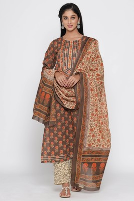 Women's Brown Cotton Cambric Hand Block Print Straight Kurta Palazzo & Dupatta Set
