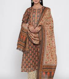 Women's Brown Cotton Cambric Hand Block Print Straight Kurta Palazzo & Dupatta Set