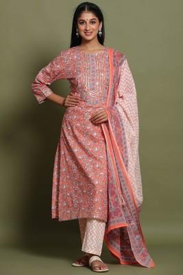 Women's Orange Cotton Cambric Hand Block Print Straight Kurta Pant & Dupatta Set
