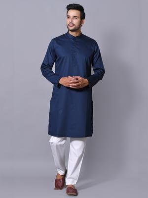 Men's Blue Cotton Satin Solid Straight Kurta Payjama Set