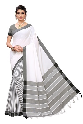 Women's  White Cotton Silk Printed Saree With Blouse Piece