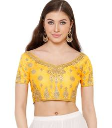 Women's Yellow Silk Blend Readymade Free Size Saree Blouse