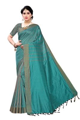 Women's  Rama Cotton Silk Printed Saree With Blouse Piece