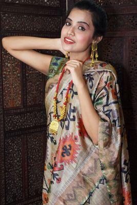 Unitex Fashion Premium Quality Brown Mulberry Tussar Silk  Saree