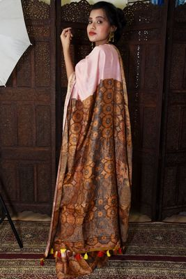 Unitex Fashion Premium Quality pink Mulberry Tussar Silk  Saree