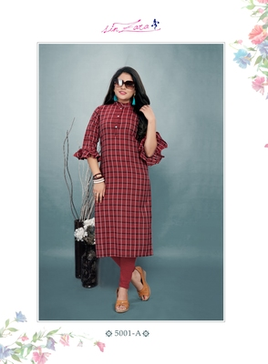 Red Cotton Straight Kurti with Checks Print Details