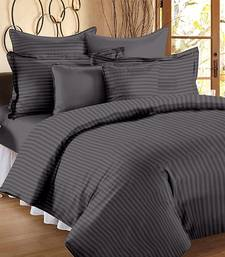 TC Premium Luxury Cotton Satin Striped Double Bed King Size Bedsheet (100 In x 108 In) with 2 pillow cover - Grey