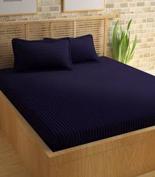 TC Premium Luxury Cotton Satin Striped Double Bed King Size Bedsheet (100 In x 108 In) with 2 pillow cover - Purple