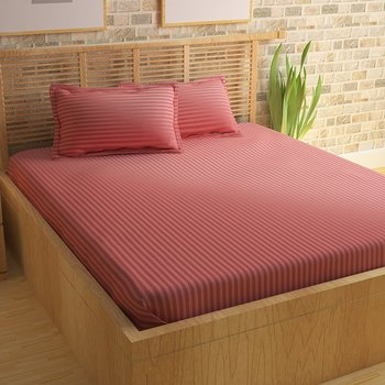 Premium Luxury Cotton Satin Striped Double Bed King Size Bedsheet (100 In x 108 In) with 2 pillow cover - Pink