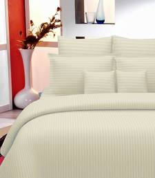 TC Premium Luxury Cotton Satin Striped Double Bed King Size Bedsheet (100 In x 108 In) with 2 pillow cover - Ivory