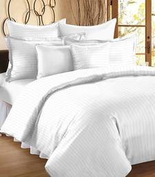 TC Premium Luxury Cotton Satin Striped Double Bed King Size Bedsheet (100 In x 108 In) with 2 pillow cover - White