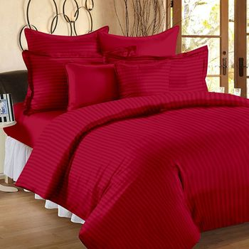 Premium Luxury Cotton Satin Striped Double Bed King Size Bedsheet (100 In x 108 In) with 2 pillow cover - Red