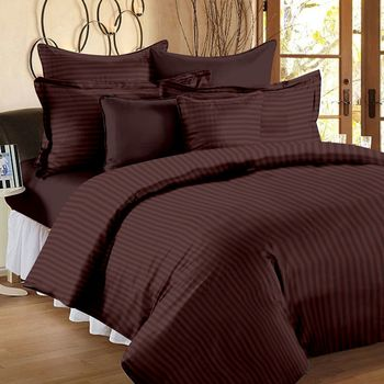 Premium Luxury Cotton Satin Striped Double Bed King Size Bedsheet (100 In x 108 In) with 2 pillow cover - Brown