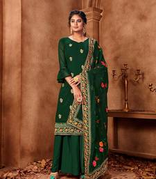 Dark-green embroidered faux georgette salwar