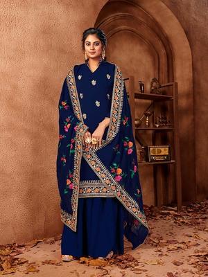 Dark-blue embroidered faux georgette salwar