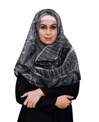 JSDC Black Printed BSY Magic Scarf Hijab For Women