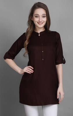 Women's Maroon Solid Top with Roll-up Sleeve