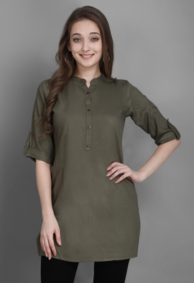 Women's Green Solid Top with Roll-up Sleeve