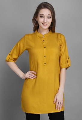 Women's Yellow Solid Top with Roll-up Sleeve