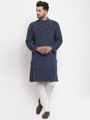 Blue woven cotton men-kurtas