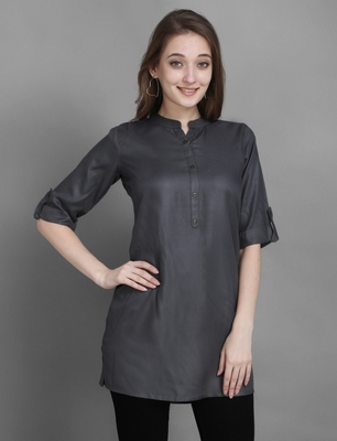 Women's Grey Solid Top with Roll-up Sleeve