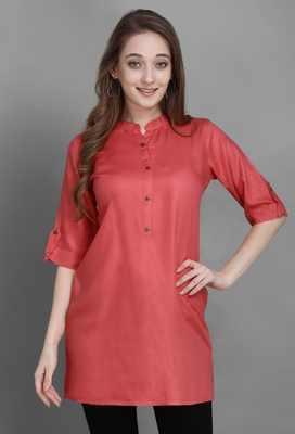 Women's Carrot Red Solid Top with Roll-up Sleeve