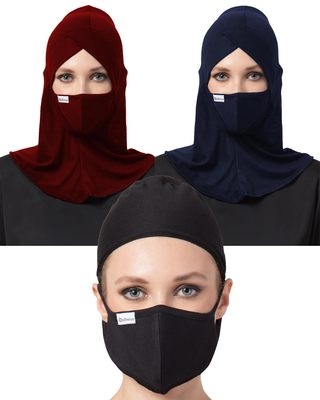 6 Pcs Set-Under Hijab Cap and Mask Combo