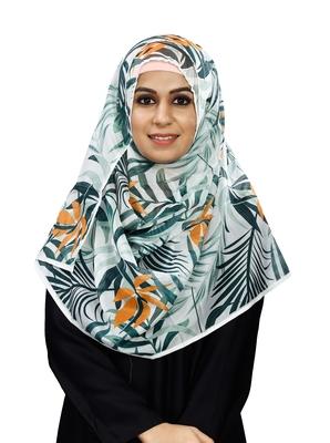 JSDC Women Tropical Leaf Printed BSY Magic Scarf Hijab Stole