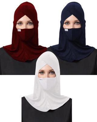 6 Pcs Set-Under Hijab Cap and Mask Combo