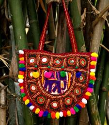 Semi Round Kutch Elephant Pattern Embroidered Banjara Tote Bag With Multicolored Pompoms All Around