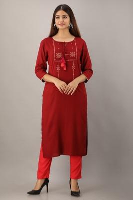 Maroon embroidered viscose rayon diwali-kurtis
