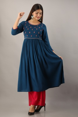 Blue embroidered viscose rayon diwali-kurtis