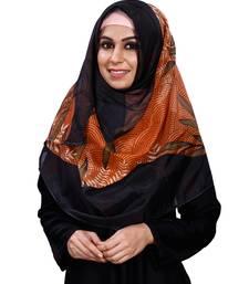 JSDC Women Black Orange Printed BSY Magic Scarf Hijab Stoles Dupatta