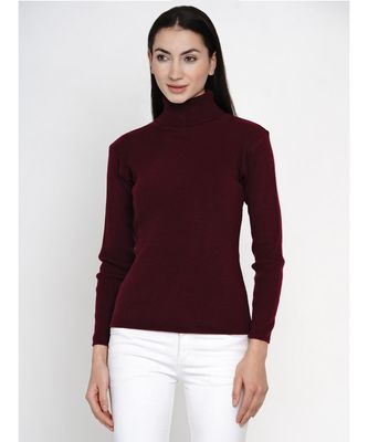 women winter wine high neck sweater